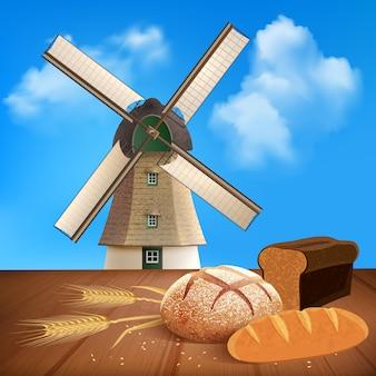 Pan y trigo con producto natural e ilustración de molino