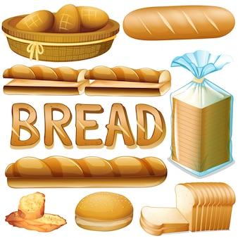 Pan en varios tipos de ilustración