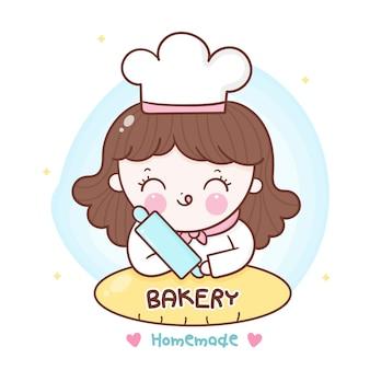 Panadería casera niña decoración chef dibujos animados dibujado a mano