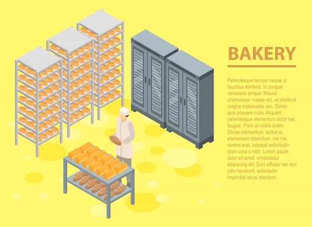 Panadería concepto pancarta, estilo isométrico.