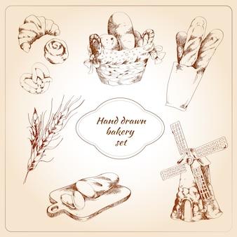Panadería conjunto dibujado a mano