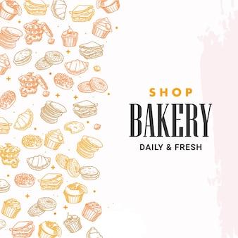 Panadería dibujada a mano, pastelería, desayuno, pan, dulces, postre, ilustración