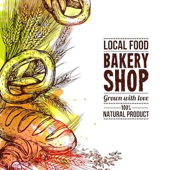 Panadería dibujados a mano ilustración