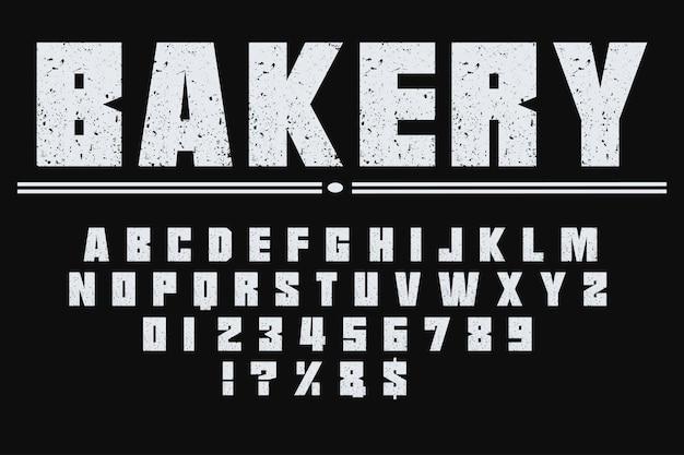 Panadería de diseño de etiqueta de tipografía retro