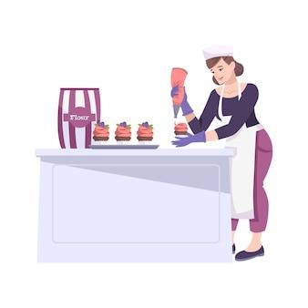 Panadería establece composición plana con personaje femenino de cocinera haciendo pasteles con harina y crema
