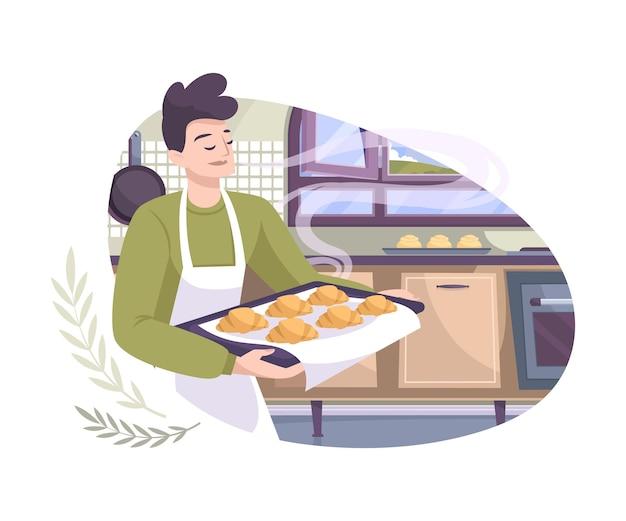 Panadería establece composición plana con vista a la cocina y al hombre que sostiene la bandeja con croissants