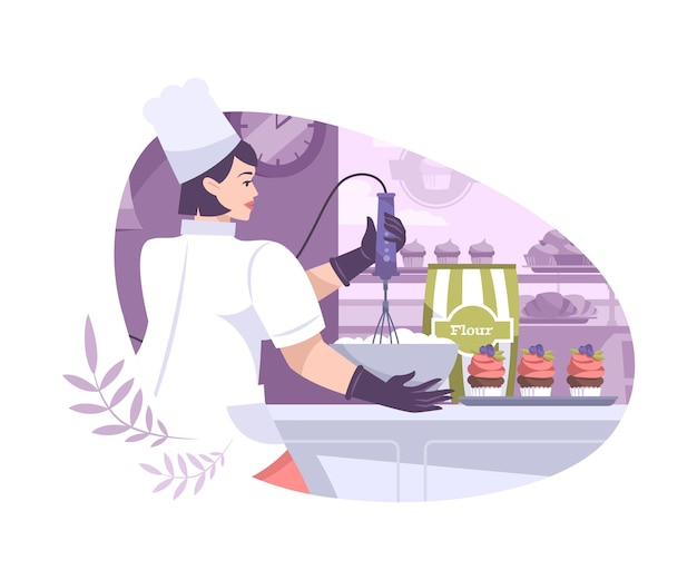 Panadería establece composición plana con vista a la cocina con cocinera sosteniendo una escoba