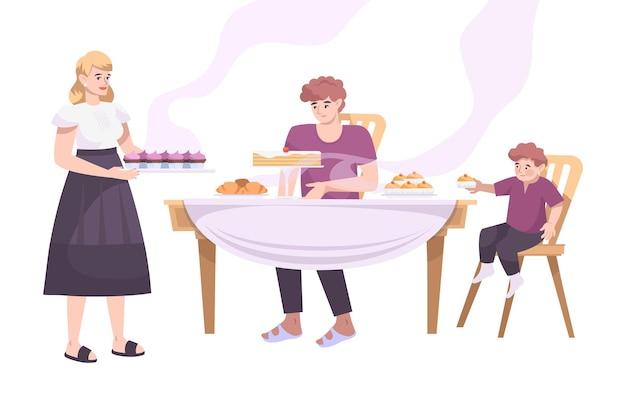 Panadería establece composición plana con vista de miembros de la familia en la mesa con productos horneados