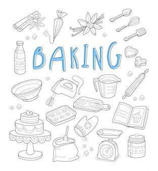 Panadería y garabatos de postre. dibujado a mano
