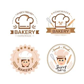 Panadería, logotipo, plantilla, panadería, panadería, insignias, etiquetas, iconos