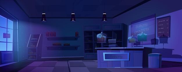 Panadería por la noche, interior de la casa de hornear oscura vacía con productos en los estantes
