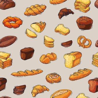 Panadería y pan horneado pan comida pan o baguette horneado por panadero en pasteles de panadería conjunto ilustración patrón transparente
