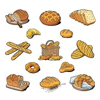 Panadería y pan hornear pan comida pan o baguette horneado por panadero en bakehouse set ilustración aislado sobre fondo blanco.