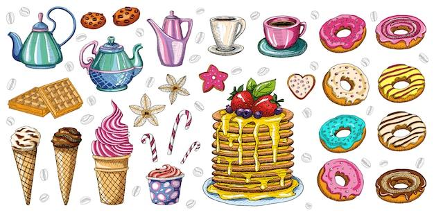 Panadería pastelería dulces postres objetos colección tienda cafetería cartel restaurante menú comida.