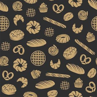 Panadería sin patrón con elementos grabados.