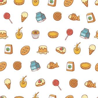 Panadería y postre dibujado a mano de patrones sin fisuras