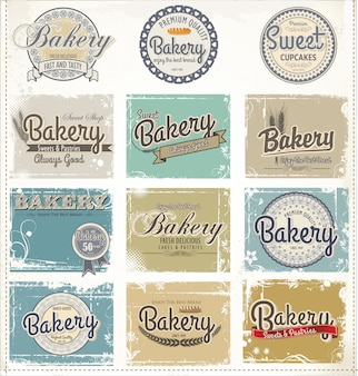 Panadería retro etiquetas