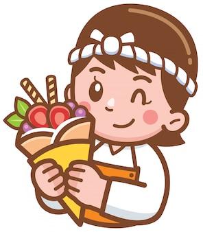 Panadero de dibujos animados presentando comida
