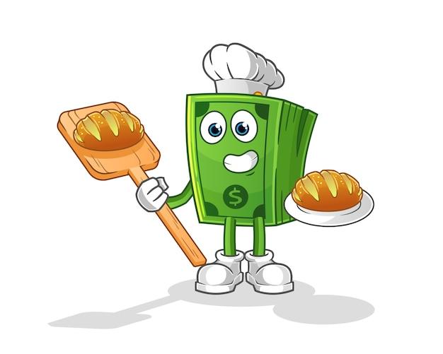 Panadero de dinero con dibujos animados de pan. mascota de dibujos animados
