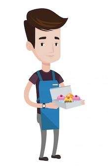 Panadero entrega tortas ilustración.