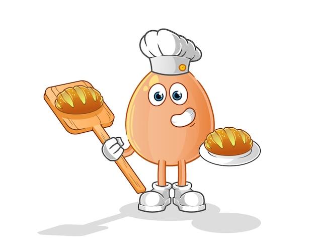 Panadero de huevo con ilustración de dibujos animados de pan