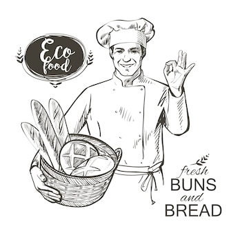 Panadero llevando una cesta con pan.