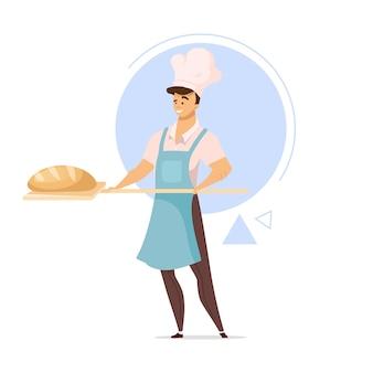 Panadero masculino con ilustración de color de diseño plano de pan