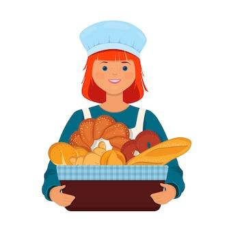 Panadero de niña sostiene una canasta con pan fresco