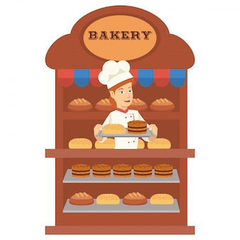 Panadero de niña se vende mucho pan en la panadería.