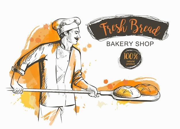 Panadero con pala sacando pan del horno.