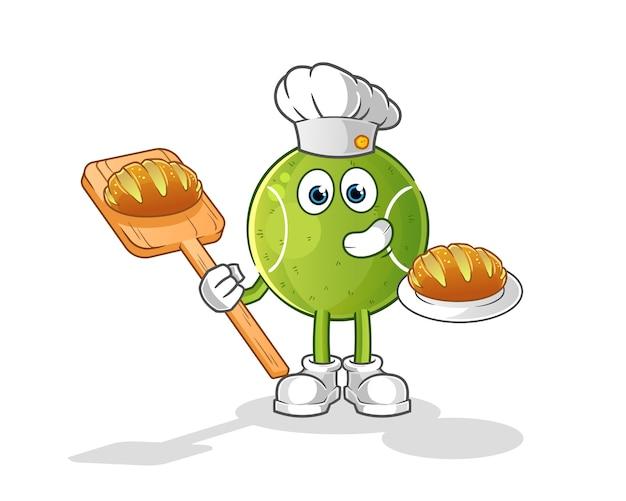 Panadero de tenis con dibujos animados de pan. mascota de dibujos animados