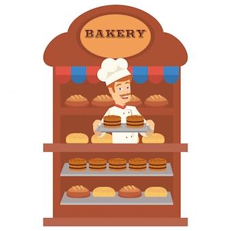 Un panadero se venden muchos tipos de pan en la panadería.