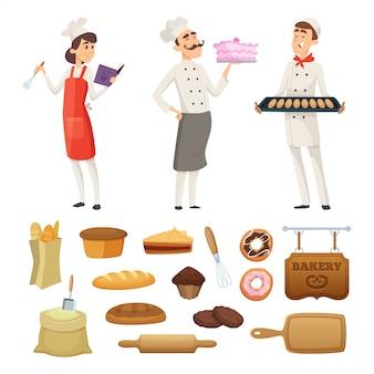 Panaderos masculinos y femeninos en el trabajo. personajes en diferentes poses.