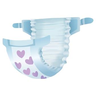Pañal absorbente para bebé, aislado sobre fondo blanco.