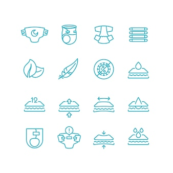 Pañales desechables e iconos de líneas de características. set de productos de higiene absorbente para lactantes con incontinencia