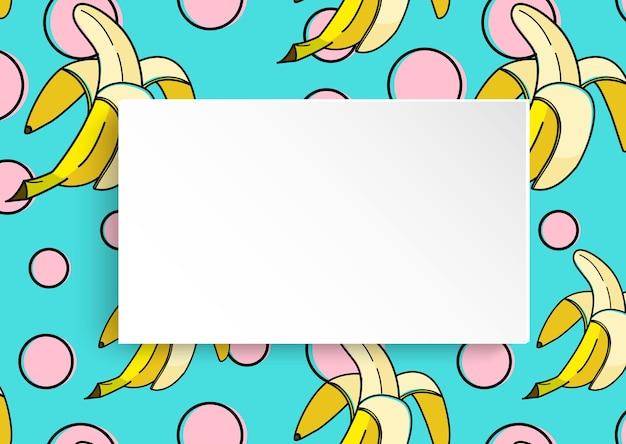 Pancarta en blanco en el fondo de plátano con puntos de arte pop en estilo años 80, 90.