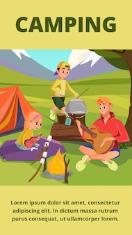 Pancarta de camping familiar, padre hijo hija en el campamento