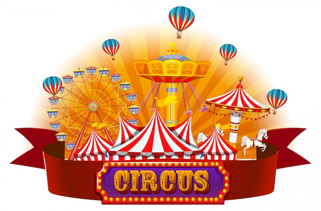 Una pancarta de circo aislada.