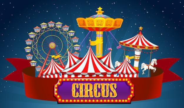Una pancarta de circo en el cielo.