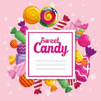 Pancarta dulce con caramelos