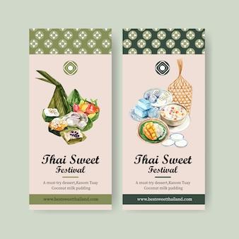 Pancarta dulce tailandés con masa de pirámide, imitación de frutas ilustración acuarela.