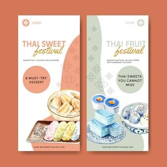 Pancarta dulce tailandés con pudín, capas de jalea ilustración acuarela.