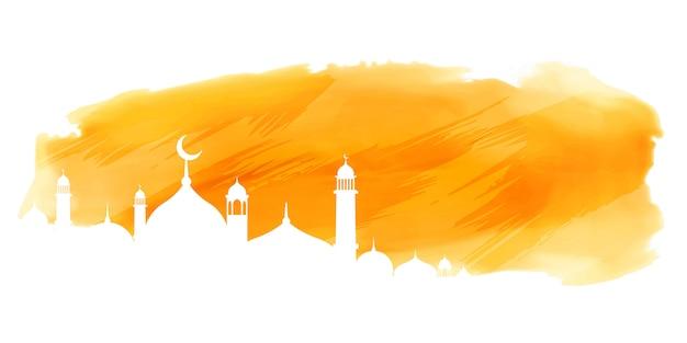 Pancarta islámica acuarela amarilla con diseño de mezquita.