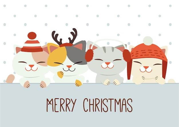 La pancarta de lindo gato y amigos con accesorios de invierno en estilo plano.