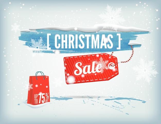 Pancarta navideña con tinta con una etiqueta de bolsa de compras y copos de nieve