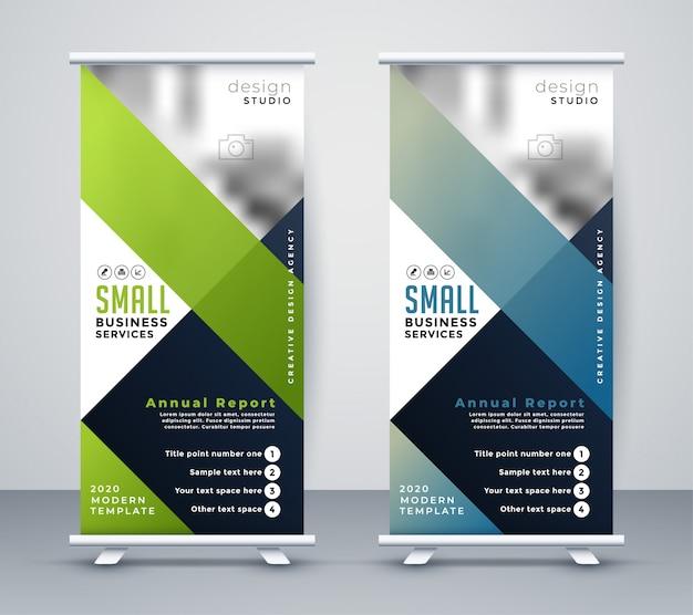 Pancarta de negocios verde y azul rollup standee