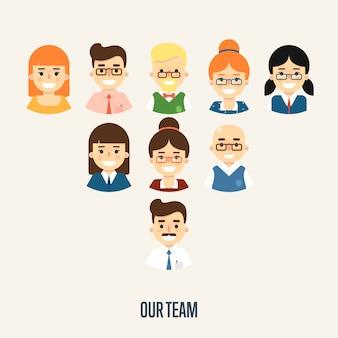 La pancarta de nuestro equipo con personajes de dibujos animados