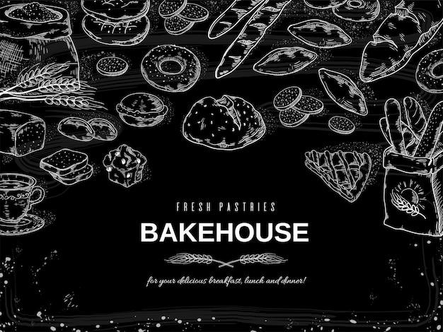 Pancarta de pan y pasteles de pizarra, plantilla de diseño de pasteles y galletas dibujados a mano.