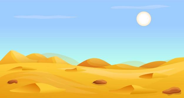 Pancarta panorámica del desierto caliente, estilo de dibujos animados