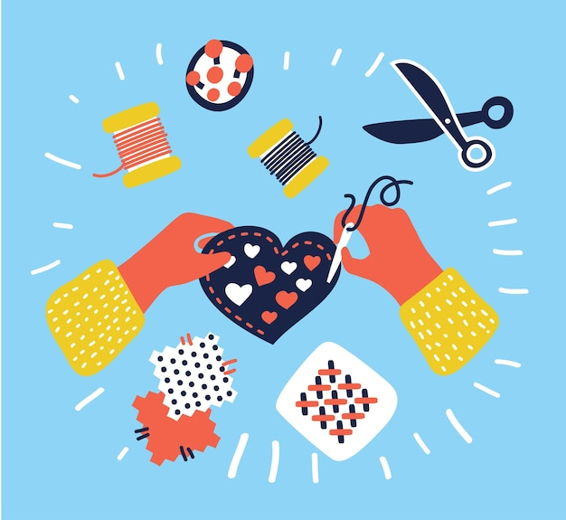 Pancarta de pasatiempos y manualidades, personas que trabajan en diferentes proyectos, cerámica, pintura, costura, acolchado y joyería, vista superior de las manos